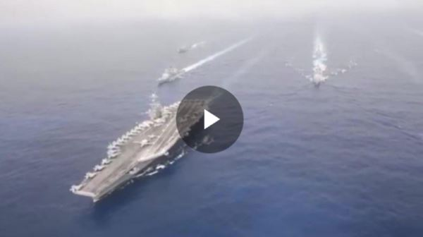 U.S.warships-conductDualAircraftCarrierStrikeGroupOperations_video