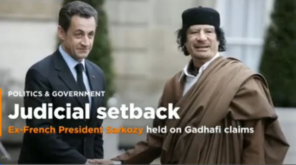 Ex-French President Sarkozy held on Gadhafi claims_video