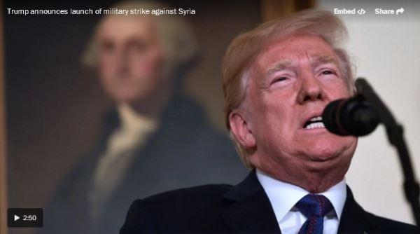 Trump announces launch of military strike against Syria_video
