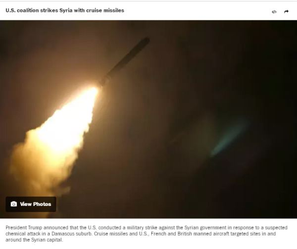 U.S. coalition strikes Syria with cruise missiles_view photos