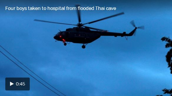 Four boys taken to hospital from flooded Thai cave_video