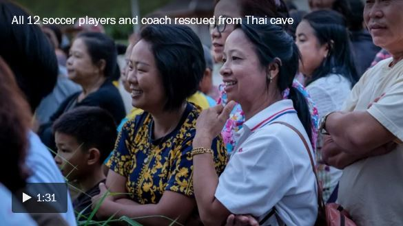 All 12 soccer players and coach rescued from Thai cave_video