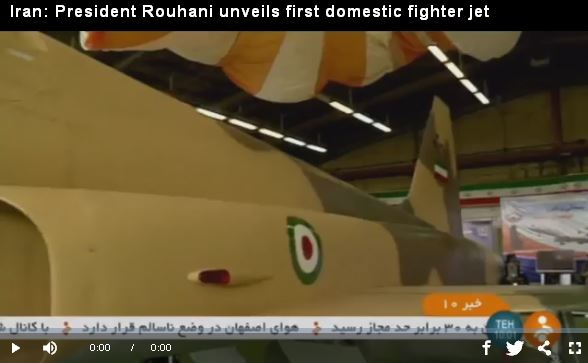 Iran--President Rouhani unveils first domestic fighter jet