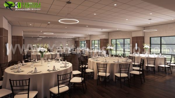 Restaurant Lounge and Bar View Interior Design Rendering Dining Hall Room.